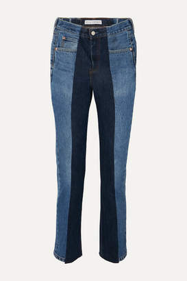 E.L.V. Denim - Net Sustain The Twin Frayed Two-tone High-rise Straight-leg Jeans - Dark denim