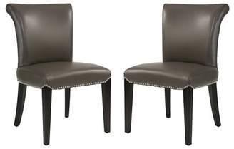 Devon & Claire Brayden Grey Leather Dining Chair (Set of 2)
