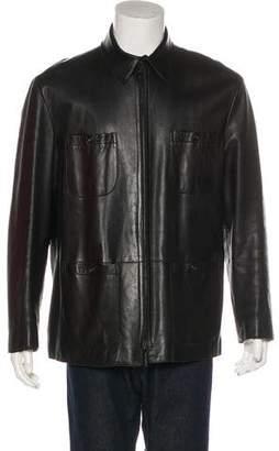 Armani Collezioni Leather Field Jacket