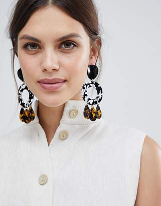 Asos Design Statement Earrings With Resin Open Circle And Tortoiseshell Pendants