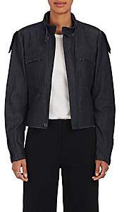 Yohji Yamamoto Regulation Women's Belted-Collar Denim Jacket - Navy