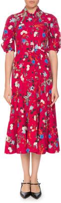 Erdem Gisela Floral Button-Front Midi Dress