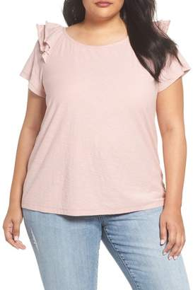 Vince Camuto Shoulder Ruffle Tee (Plus Size)