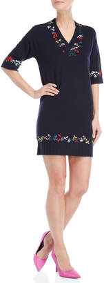 Love Moschino Navy Embroidered Short Sleeve Sweater Dress