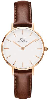 Daniel Wellington Classic Petite Leather Strap Watch, 28mm