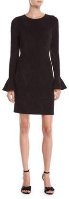 MICHAEL Michael Kors Flounce-Sleeve Metallic Knit Bodycon Dress