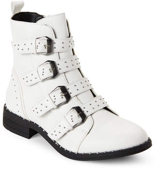 Wild Diva Lounge White Misty Buckle Studded Boots