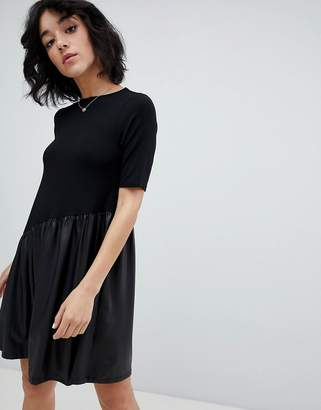 Asos DESIGN Mini Smock Dress with Asymmetric PU Panel