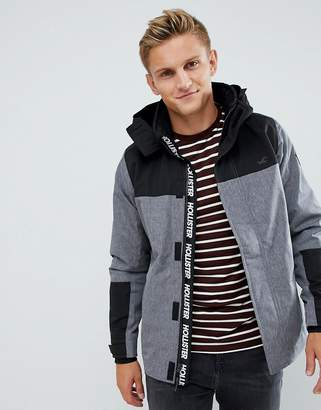 Hollister Hooded Midweight Parka Jacket Contrast Detail Seagull Logo in Textured Grey