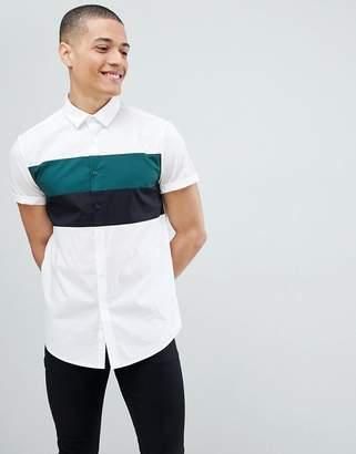Asos Design Skinny Colour Block Shirt