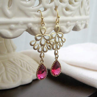 EVY Designs Gold Scroll And Glass Drop Earrings