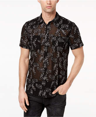 GUESS Men's Jungle Leaf Embroidered Sheer Shirt