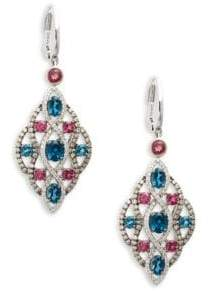 "LeVian Deep Sea Blue Topazâ""¢ Raspberry Rhodolite® Vanilla Diamonds® and Chocolate Diamonds® 14k Vanilla Gold® Earrings"