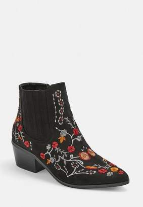 Missguided Black Floral Embroidered Western Boots