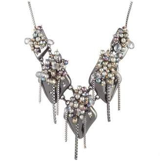Alexis Bittar Peacock Pearl Cluster Bib Necklace
