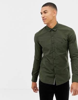 Tom Tailor smart regular fit shirt in green fine stripe