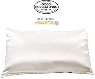 Fishers Finery 19mm 100% Pure Silk Pillowcase Good Housekeeping Quality Tested (White