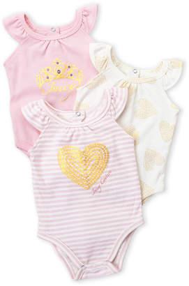 Juicy Couture Newborn Girls) Three-Pack Heart Bodysuit Set