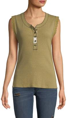 Free People Women's Button-Front Tank Top