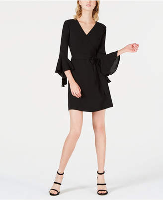 Bar III Tiered-Sleeve Faux-Wrap Dress, Created for Macy's