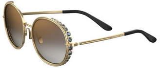 Elie Saab Round Crystal-Trim Sunglasses