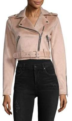Saks Fifth Avenue RED Crop Belted Asymmetric Moto Jacket