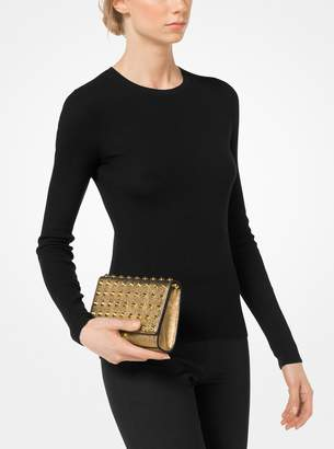 Michael Kors Yasmeen Studded Metallic Leather Clutch