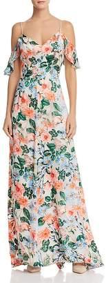 Alice + Olivia Alves Floral Cold-Shoulder Maxi Dress