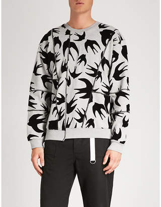 McQ Swallow-flocked cotton-jersey sweatshirt