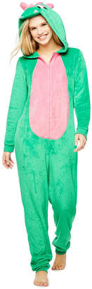 Asstd National Brand Green Dinosaur Long Sleeve One Piece Pajama