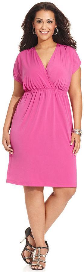 Amy Byer Plus Size Dress, Short-Sleeve Empire