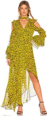 Diane von Furstenberg Ruffle High Low Maxi Dress