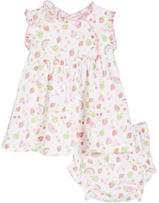 Kissy Kissy Tutti Frutti Printed Pima Dress w/ Matching Bloomers, Size 3-18 Months
