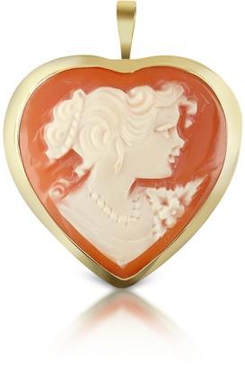Del Gatto Woman Heart Cornelian Cameo Pendant/Pin