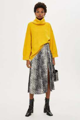 Topshop Snake Print Splice Midi Skirt