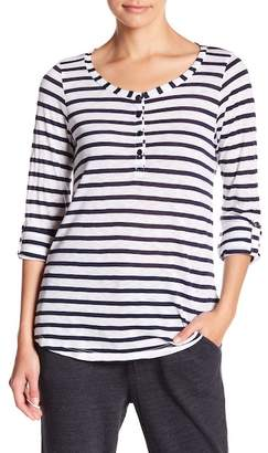 Splendid Striped Long Sleeve Henley Tee