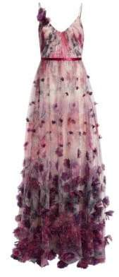 Marchesa Floral Appliqué Ball Gown