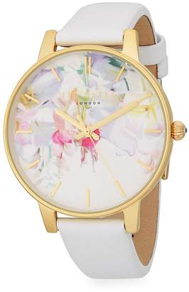Ted Baker Women's Stainless Steel and Leather Strap Watch