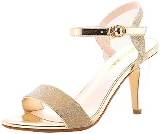 9f7c457c61709 Gaorui Women Glitter Slim Stiletto Heel Strappy Sandals Pump Buckle Peep  Toe Cuff Shoes