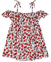 Milly Kids' Eden Cherry-Print Stretch-Cotton Cover-Up-Red
