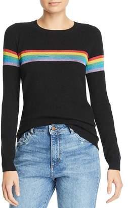 Madeleine Thompson Metallic-Rainbow-Stripe Cashmere Crewneck Sweater