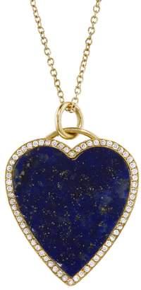 Jennifer Meyer Diamond Lapis Inlay Heart Pendant Necklace - Yellow Gold