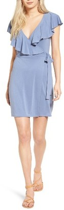 Women's Sun & Shadow Ruffle Wrap Dress $49 thestylecure.com