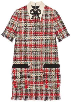 Gucci Embroidered multicolour tweed dress