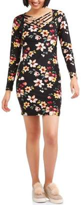 Eye Candy Juniors' Long Sleeve Caged Peached Jersey Dress