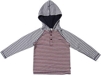 Fore Mixed Stripe Hooded Henley Top, Size 2-8