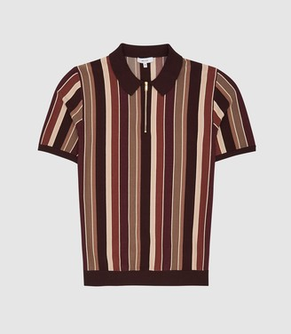 Reiss Princeton - Striped Zip Neck Polo Shirt in Bordeaux