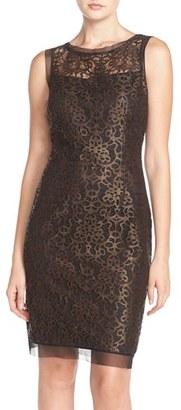 Women's Julia Jordan Metallic Lace Sheath Dress $158 thestylecure.com