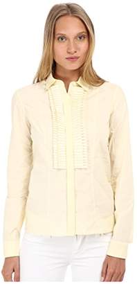 Just Cavalli Women's Long Sleeve Lace Button Front w/Ruffle