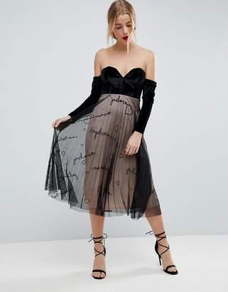 Bardot ASOS DESIGN ASOS Velvet Embroidered Tulle Skirt Midi Dress